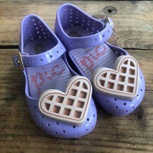 Mini Melissa Picnic Waffle Heart Purple Mary Janes